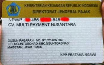 NPWP Kios Pulsa